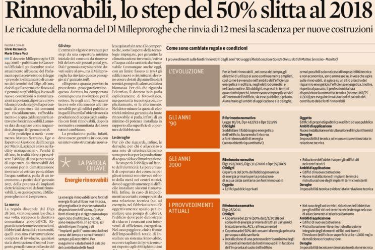 rinnovabili lo step del 50 slitta al 2018